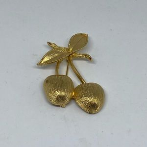 2/$22 Golden cherries brooch by Sarah Coventry vtg